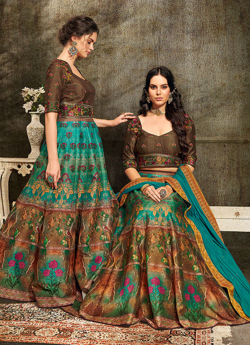 Turquoise And Brown Embroidered Wedding Lehenga/ Gown