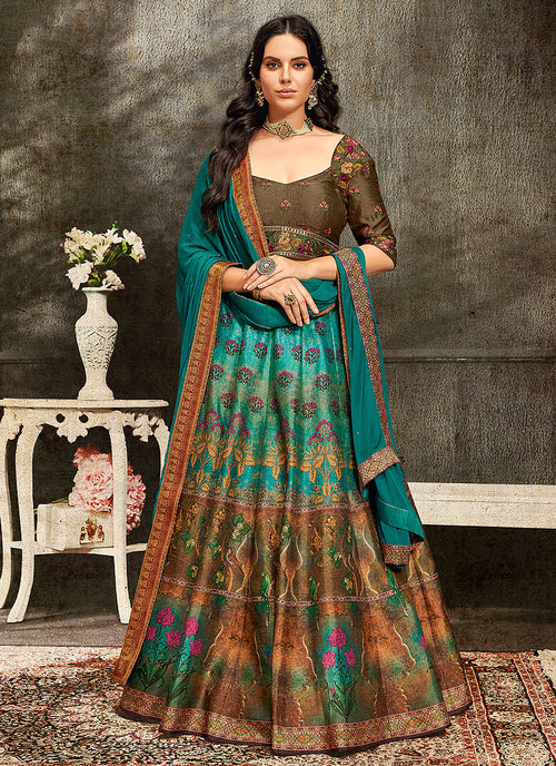 Indian Clothes - Turquoise And Brown Embroidered Wedding Lehenga/ Gown