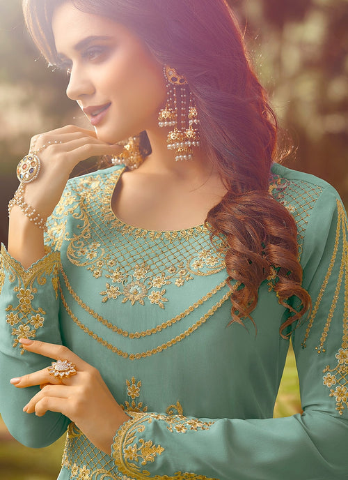Sea Blue Golden Embroidered Slit Style Anarkali Suit
