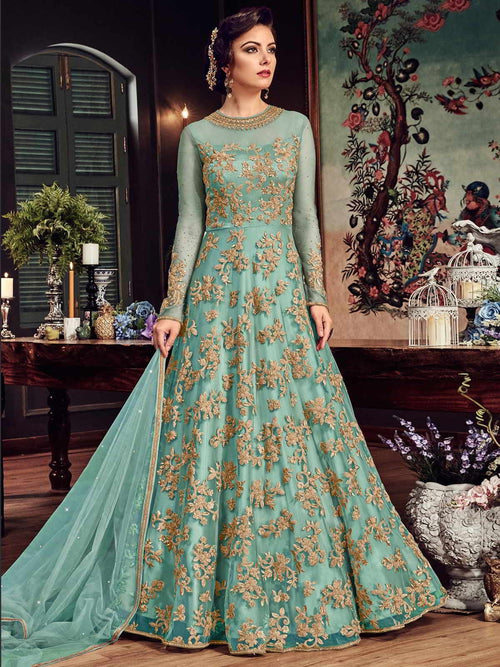 Sea Green Princess With All Gold Embroidered Flared Anarkali Suit