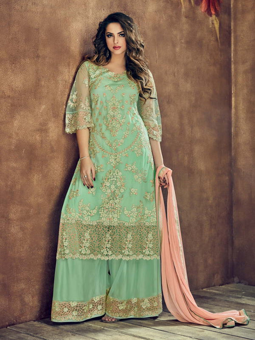 Sea Green And Peach Embroidered Flared Palazzo Suit
