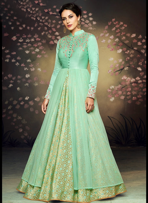 Sea Green Double Layered Embroidered Anarkali Suit