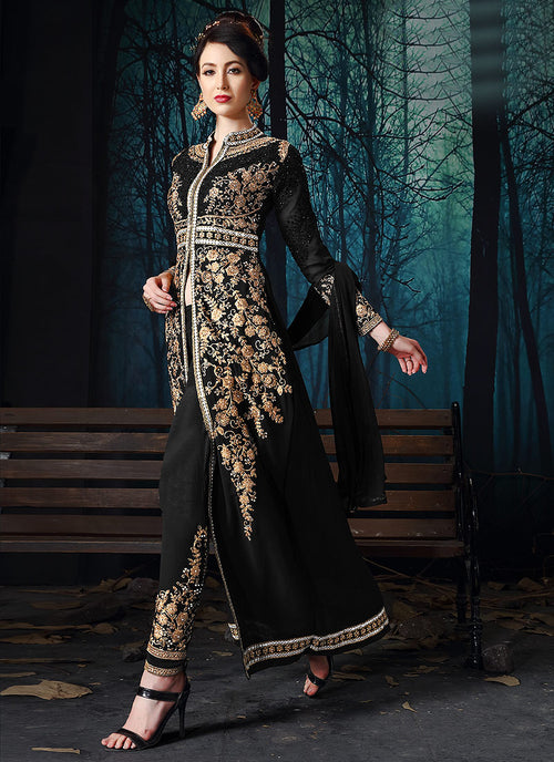 Indian Clothes - Black Slit Style Embroidered Anarkali Pant Suit