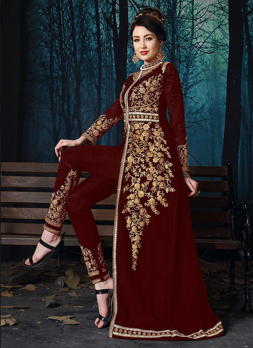 Maroon Slit Style Embroidered Anarkali Pant Suit