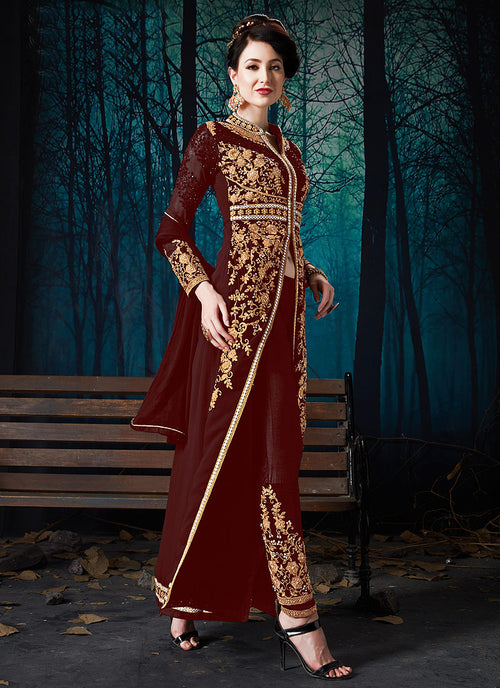 Indian Clothes - Maroon Slit Style Embroidered Anarkali Pant Suit