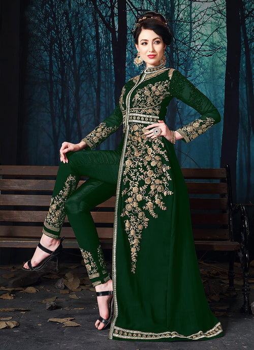 Dark Green Slit Style Embroidered Anarkali Pant Suit