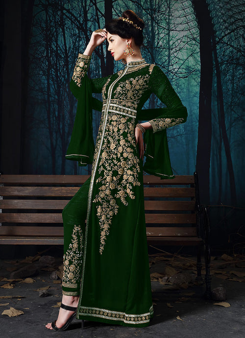 Indian Clothes - Dark Green Slit Style Embroidered Anarkali Pant Suit