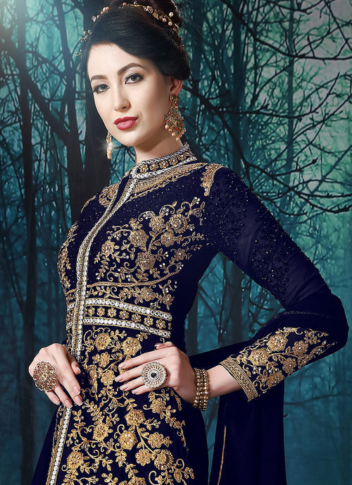 Navy Blue Slit Style Embroidered Anarkali Pant Suit, Salwar Kameez