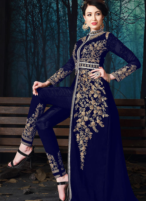 Navy Blue Slit Style Embroidered Anarkali Pant Suit
