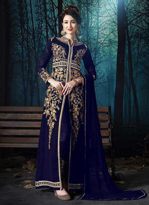 Indian Clothes - Navy Blue Slit Style Embroidered Anarkali Pant Suit