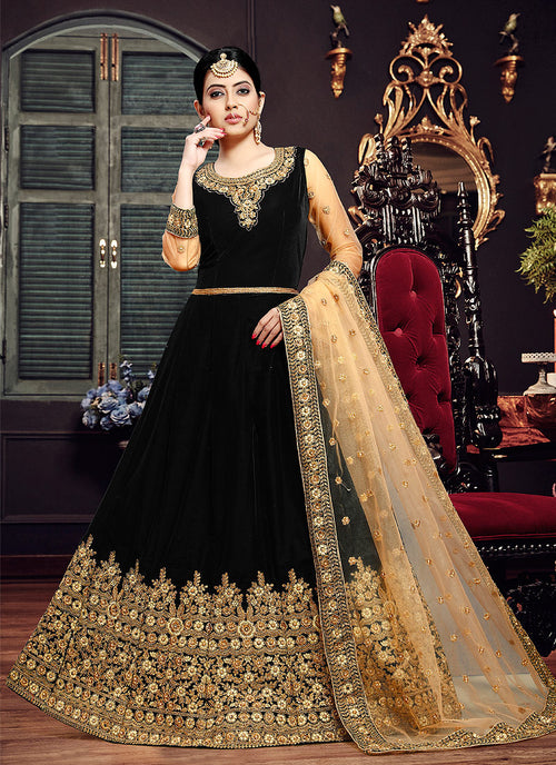 Black And Golden Embroidered Velvet Anarkali Suit