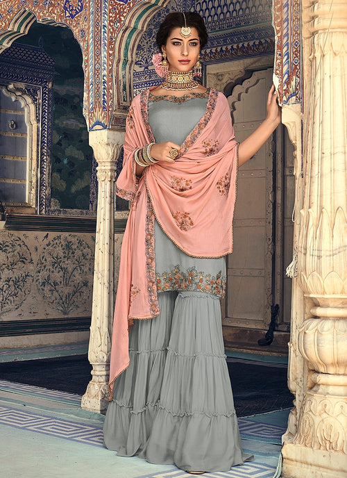 Silver And Peach Embellished Gharara Suit