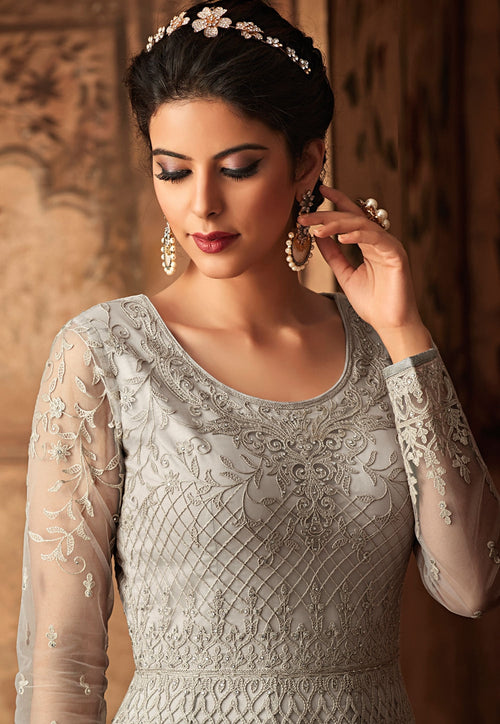 White Silver Embroidered Net Anarkali Suit