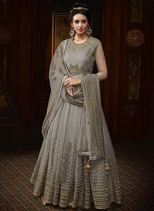 Silver Grey Embroidered Net Anarkali Suit