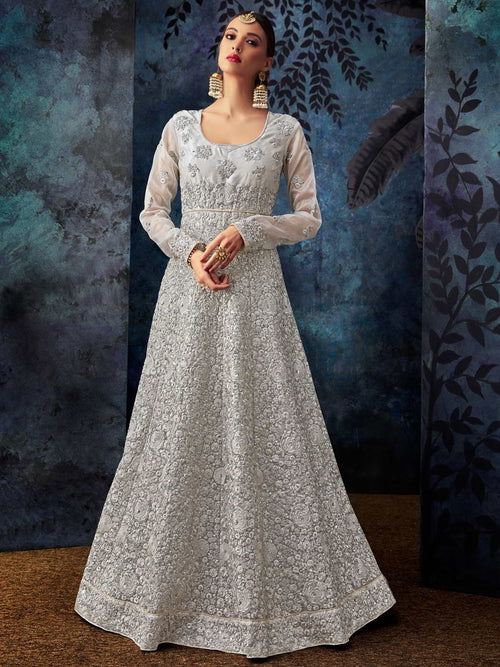 Silver Overall Embroidered Silk Anarkali Suit