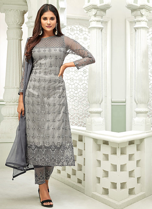 Silver Pakistani Embroidered Pant Suit