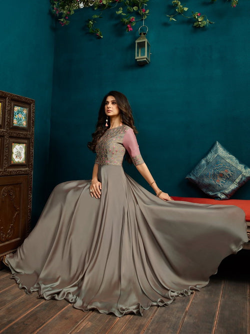 Silver With Pink Minimalist Embroidered Anarkali
