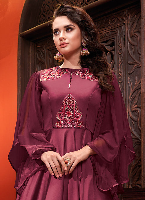 Indian Suits - Burgundy Silk Gown