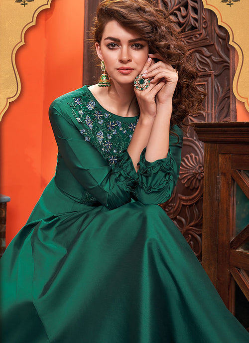 Indian Suits - Dark Green Designer Silk Gown