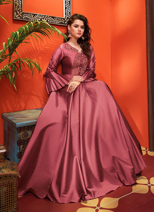 Indian Suits - Crimson Red  Silk Gown