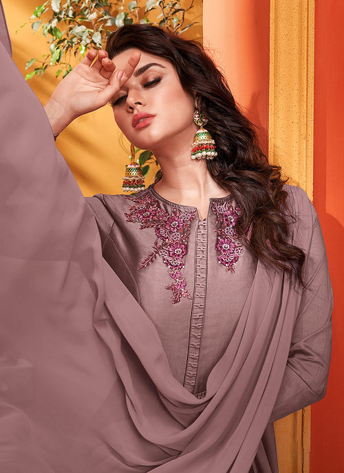 Indian Dresses - Mauve Designer Silk Gown