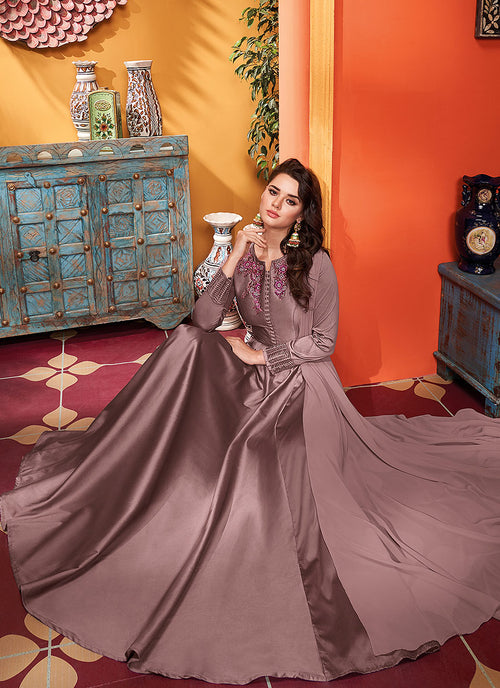 Indian Suits - Mauve Silk Gown, Salwar Kameez