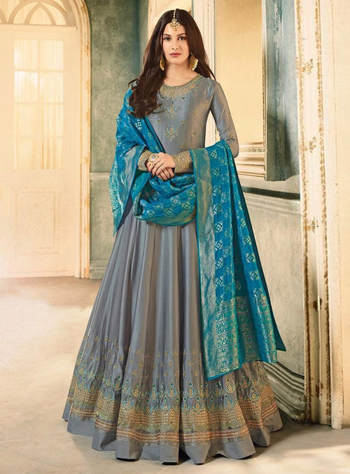 Slate Grey And Blue Motif Embroidered Ghera Anarkali Suit