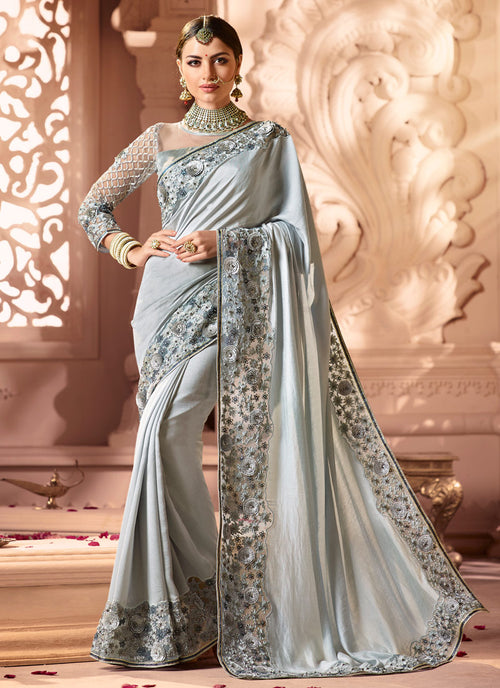 Grey Style Motif Embroidered Designer Saree