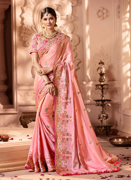 Pink Overall Embroidered Designer Silk Saree