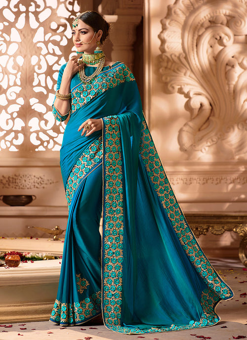 Blue Overall Embroidered Designer Silk Saree