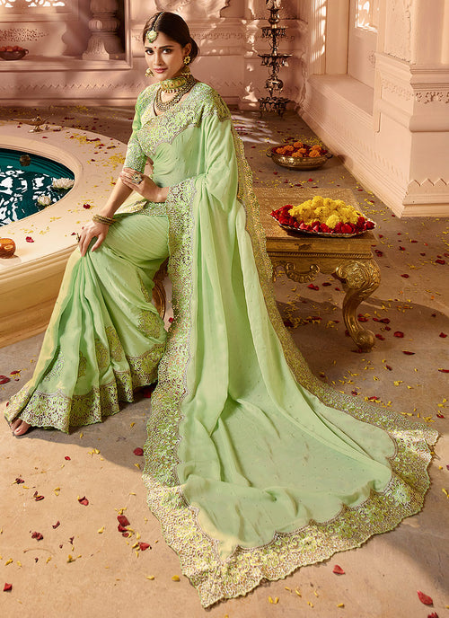 Light Green Overall Embroidered Designer Silk Saree