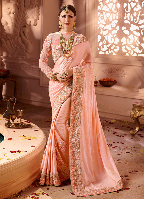 Peach Overall Embroidered  Designer Silk Saree
