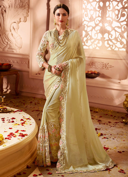 Lemon Yellow Embroidered  Designer Silk Saree
