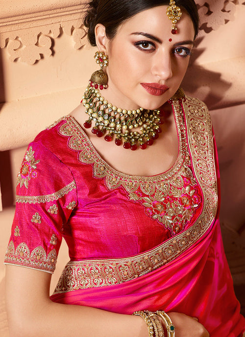 Pink Two Tone Traditional Embroidered Designer Silk Saree