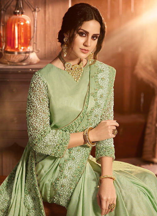 Light Green Embroidered Pallu Traditional Saree