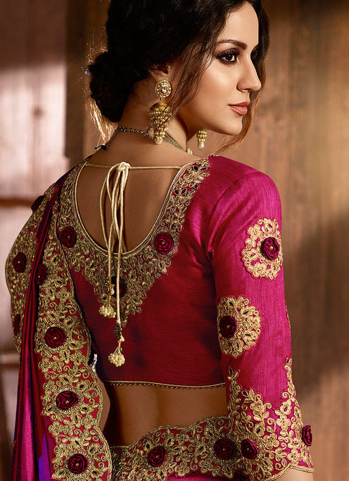 Deep Pink With Golden Embroidered Designer Saree