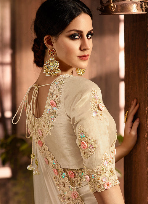 Beige With Golden Embroidered Designer Saree