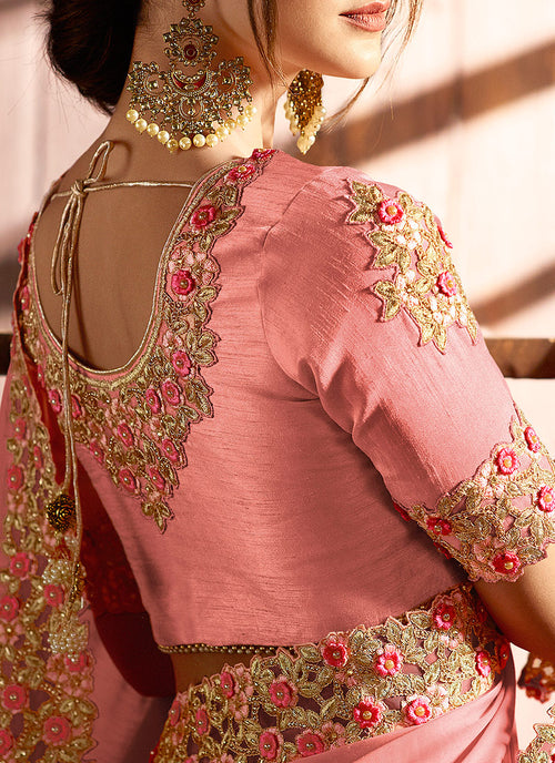 Light Pink With Golden Embroidered Traditional Saree