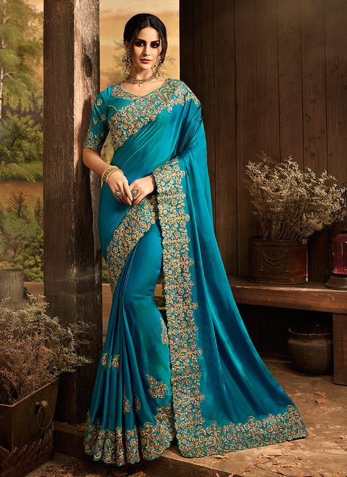 Blue With Golden Embroidered Designer Saree