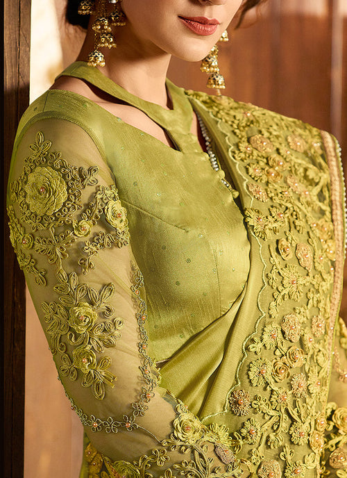 Neon Green Embroidered Pallu Traditional Saree