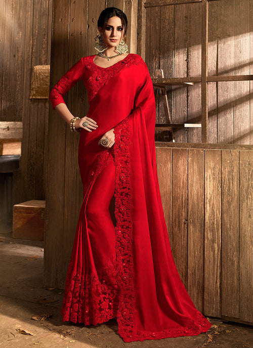 Bright Red With Pallu Traditional Saree