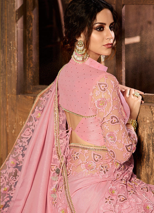 Pink With Multi Embroidered Pallu Traditional Saree