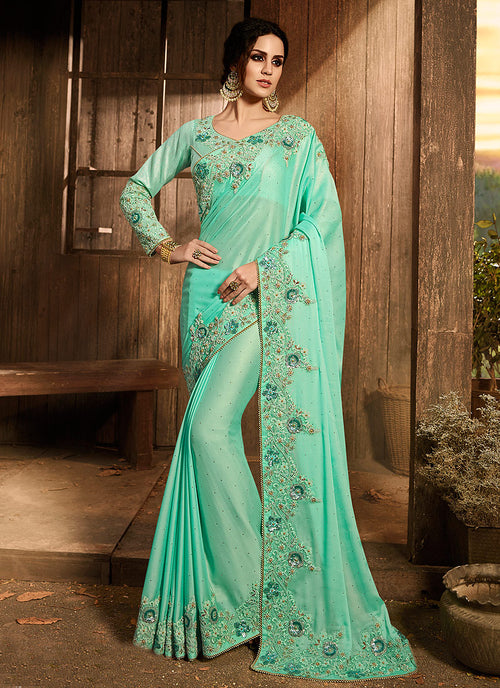 Aqua Blue With Multi Embroidered Pallu Traditional Saree