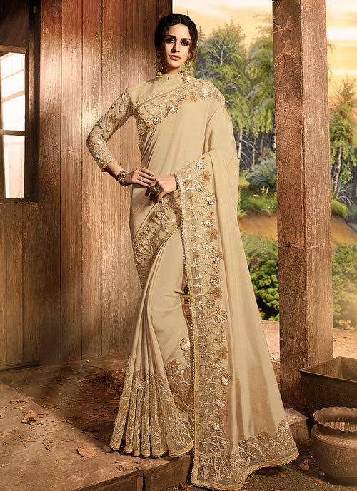 Beige Golden With Embroidered Pallu Traditional Saree