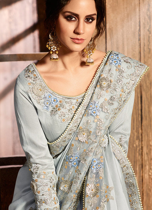 Light Grey With Embroidered Pallu Traditional Saree
