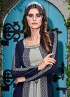 Blue And Grey Embroidered Jacket Style Palazzo Suit Set
