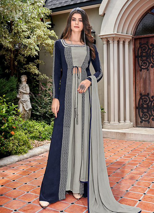 Indian CLothes - Blue And Grey Embroidered Jacket Style Palazzo Suit Set