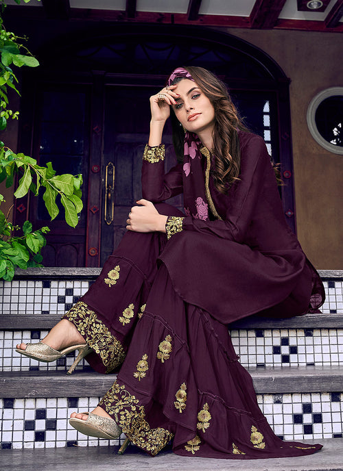 Purple Overall Golden Embroidered Palazzo Suit Set, Salwar Kameez