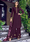 Indian Clothes - Purple Overall Golden Embroidered Palazzo Suit Set