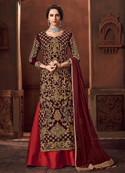 Indian Clothes - Red Embroidered Lehenga Style Anarkali Suit